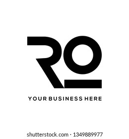 RO monogram.Bold, clean, minimalist lettering logo.Typographic icon with letter r and letter o.Uppercase initials isolated on white background.Customized font.