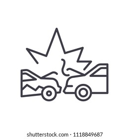 Road accident black icon concept. Road accident flat  vector symbol, sign, illustration.