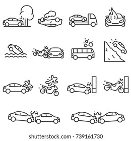 Road accident icon set. Accidents involving a passenger car, motorcycle and bus, linear design. Line with editable stroke