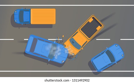 Road accident on highway between two cars with crumpled wings and bumpers, broken windows and braking. Vector top view flat illustration.