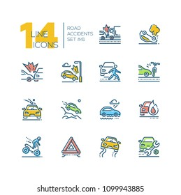 Road accidents - set of line design style icons isolated on white background. High quality minimalistic colorful pictograms. Car crash, bad weather conditions, motorbike, breakdown, gravel