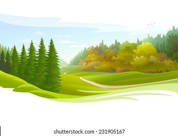 Road across a meadow and Pine Trees