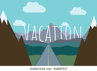 Road among the mountains. Vacation trip. Flat style vector illustration