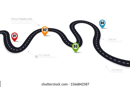 Road asphalt road isolated on white background. Vector illustration.