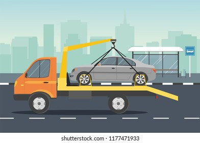 Road assistance. Car evacuator with gray car drive on the road. Vector flat Illustration