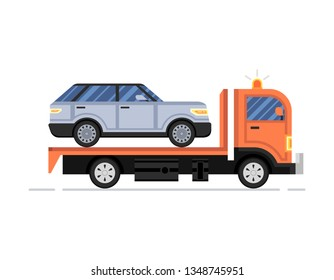Road assistance. Car evacuator with gray car drive. Vector flat Illustration.