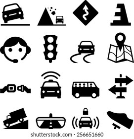 Road, automobile and vehicle icons
