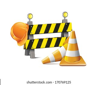 Road Barrier With Hard Hat And Traffic Cone
