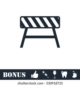 Road barrier icon flat. Vector illustration symbol and bonus pictogram