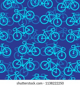 Road bike, Bicycles seamless pattern wallpaper on blue background, Simple icon flat design, Vector illustration