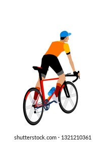 road bike cyclist climbing. vectoral illlustration. white background isolated.