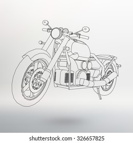 Road bike. Motorcycle in the contour lines. Silhouette of a motorcycle. The contours of the motorcycle
