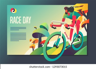 Road bike racing event poster web template. Mixcolor vector illustration
