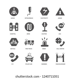 Road blockade, Bend, Ahead, Intravenous, Call center, Siren, Fire truck, Warning icon 16 set EPS 10 vector format. Icons optimized for both large and small resolutions.