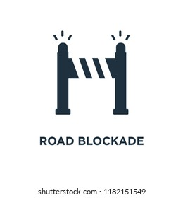 Road blockade icon. Black filled vector illustration. Road blockade symbol on white background. Can be used in web and mobile.