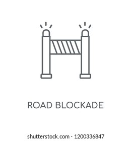 Road blockade linear icon. Road blockade concept stroke symbol design. Thin graphic elements vector illustration, outline pattern on a white background, eps 10.