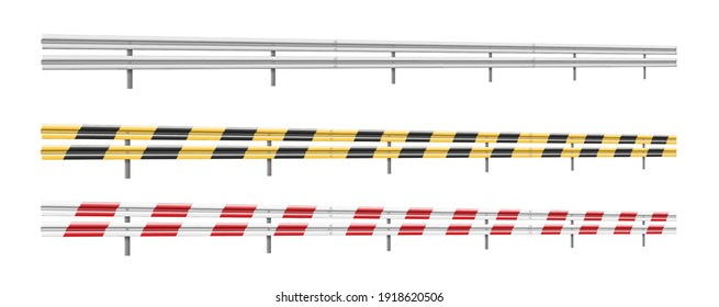 Road blocks and barriers set for closed highway and caution of danger on street. Colorful metallic fences template isolated on white background. 3d vector illustration