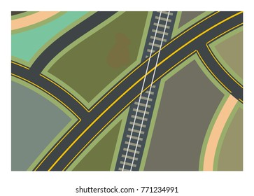 road branch and lanes with railroad crossing
