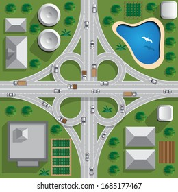 Road bridge. Road junction. View from above. Vector illustration.
