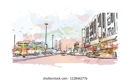 Road with building view of Fujairah is an city on the east coast of the United Arab Emirates (UAE). Watercolor splash with Hand drawn sketch illustration in vector.