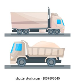Road cargo transportation, truck, dump truck with cargo. Vector illustration in the style of Kartun.
