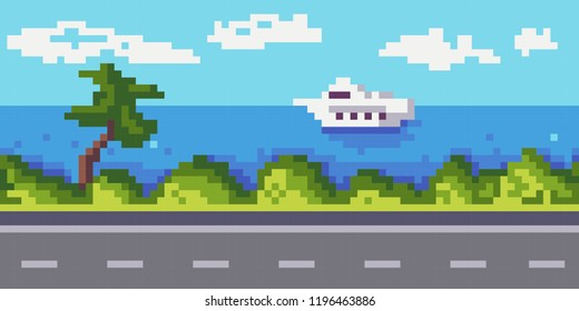 The road is for cars, bushes and a palm tree grow, a yacht is floating on the ocean, the sky with clouds. Background. Horizontal seamless pattern. Pixel art texture .Vector.