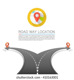 Road choice, Road arrow cover, Road way location, Vector background