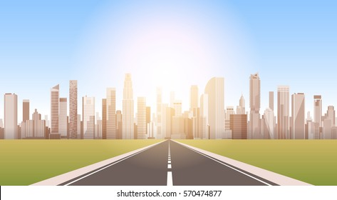 Road To City Skyscraper View Cityscape Background Skyline Silhouette with Copy Space Vector Illustration
