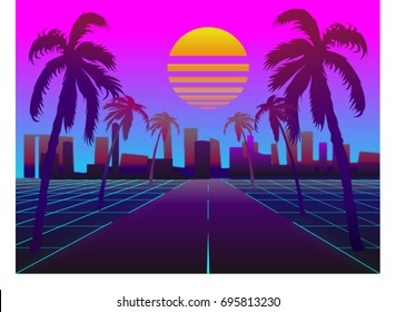 Road to the city at sunset. 0s Retro Sci-Fi Background with Summer Landscape. Vector futuristic synth retro wave illustration in 1980s posters style.