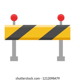 road closed street barrier on road flat design icon colored. Element construction icons set icon sign for mobile and web apps on white background