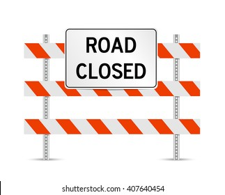 Road closed traffic control standing sign vector