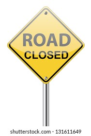 Road closed traffic sign on white