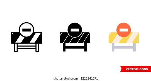 Road closure icon of 3 types: color, black and white, outline. Isolated vector sign symbol.