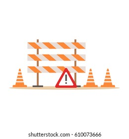 Road Cones And Barriers Signalling Tools , Part Of Roadworks And Construction Site Series Of Vector Illustrations