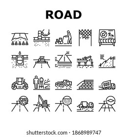 Road Construction Collection Icons Set Vector. Gravel Crushed Stone Road And Asphalt, Embankment And Strengthening Of Slopes, Bridge And Drainage Black Contour Illustrations