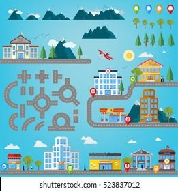 Road construction kit for infographics with buildings like hospital, police station, gas station, shop, market, super market