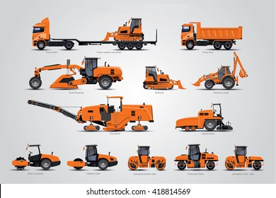 The road construction machine big collection. The Road construction equipment. The big set of road construction works.