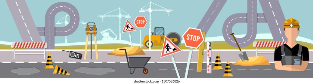 Road construction and road repair fla cartoon banner