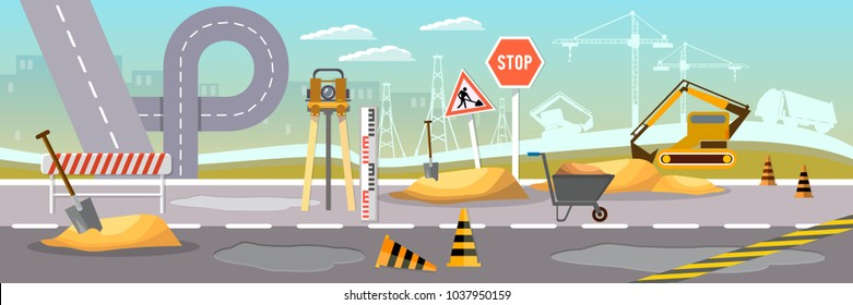 Road construction and road repair vector banner. Repair is expensive in the city. Road works construction and repair elements vector