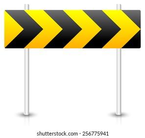 Road construction, roadblock sign