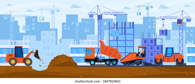 Road construction vector illustration. Cartoon flat tractor steamroller compactor and paving machine work on constructing city road street or highway, construct heavy machinery roadwork background