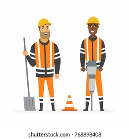 Road construction workers - cartoon people characters illustration