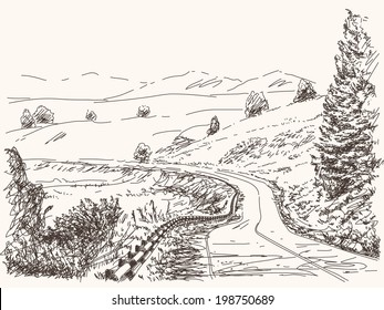 Road in countryside, Hand drawn landscape, Vector illustration