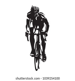 Road cycling, cyclist on bicycle, front view. Abstract vector silhouette