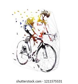 Road cycling, cyclist in yellow jersey, low polygonal vector illustration. Geometric bicycle rider
