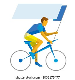 Road cycling - man with empty flag ride on bicycle. Sport Infographic - cyclist holding standard. Vector clip art. Flat athlete icon isolated on white background.