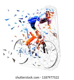 Road cycling, polygonal cyclist in blue jersey riding bike. Low