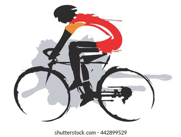 Road cycling racer. Expressive stylized drawing of cyclists, imitating drawing ink and brush. Vector available.