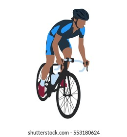 Road cyclist in blue jersey, isolated vector illustration. Cycling racing