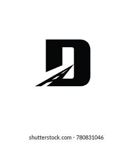 road d font logo flat vector template